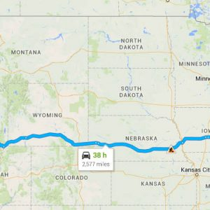 This is the route we ended up taking, with some small side trips. Just put a white, snowy blotch over southeastern Wyoming. And, if anyone invents a teleporter, it'll be someone who knows what it is to have traveled through Nebraska.