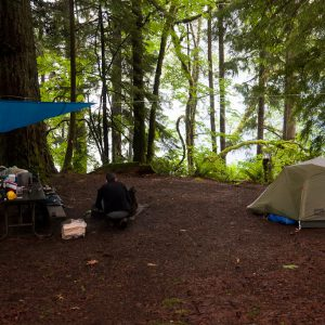 Camping in a campground at Lake Crescent.